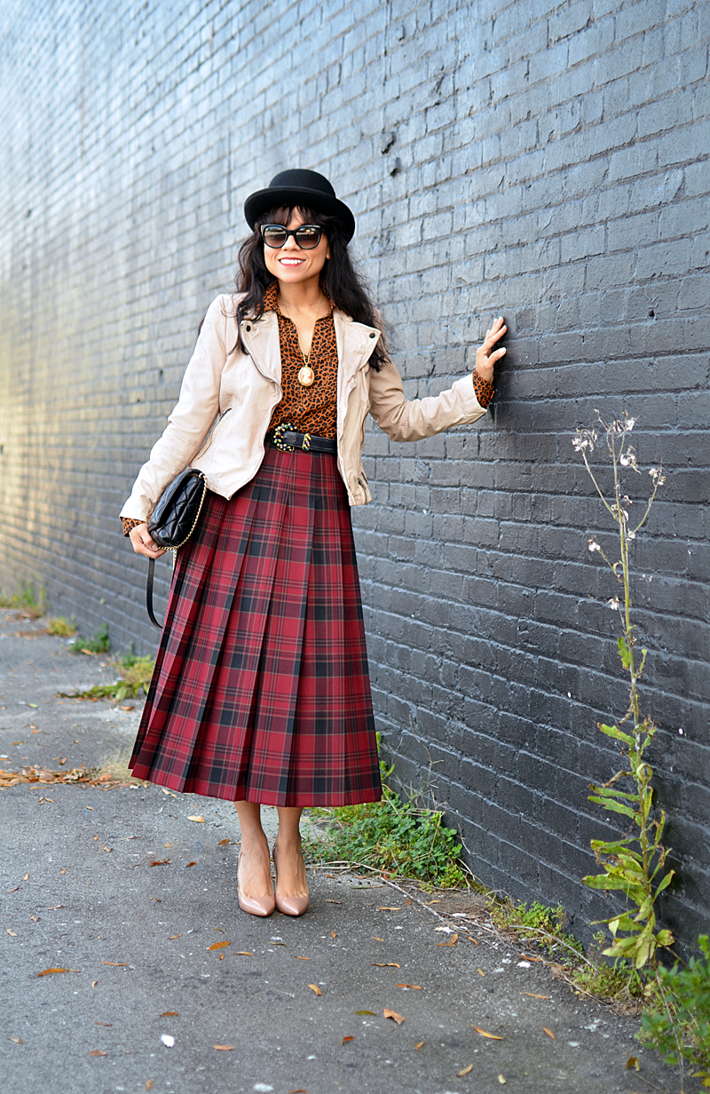 Plaid with leopard street style