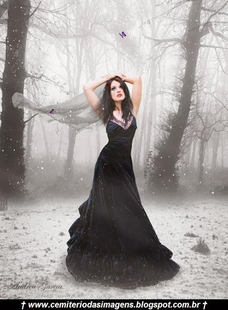 gotica,vestido,preto,frio,neve,borboleta