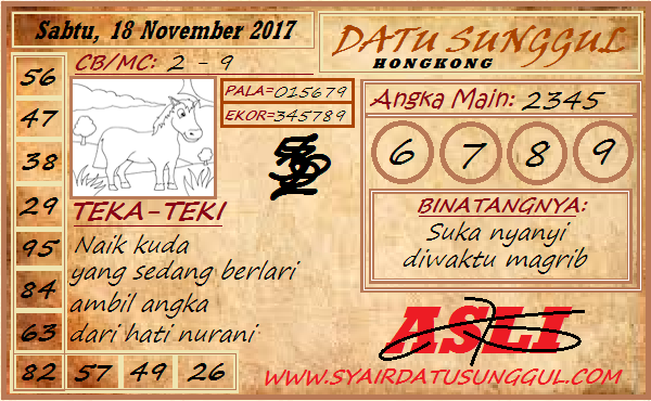 Syair HK Sabtu 18-11-2017 - Syair SGP HK