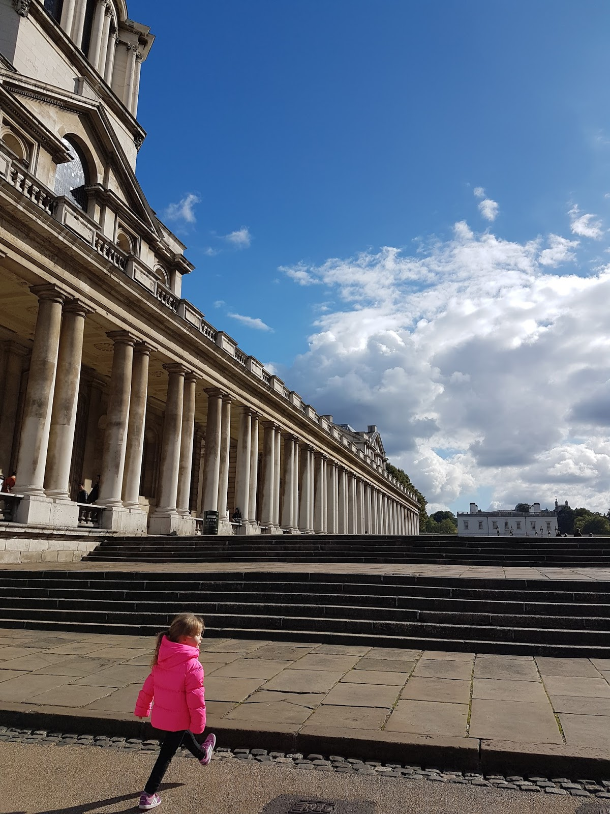toddler walking at greenwich university grounds