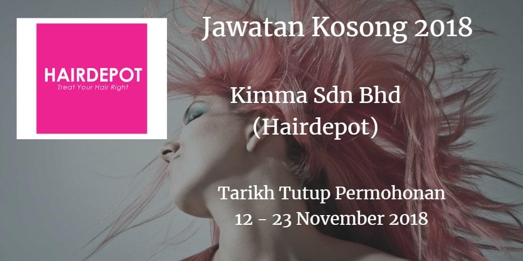 Jawatan Kosong Kimma Sdn Bhd (Hairdepot)12 - 23 November 2018