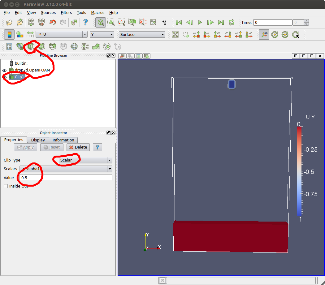 doc-diy blog: Falling drop simulation with OpenFOAM in 2D
