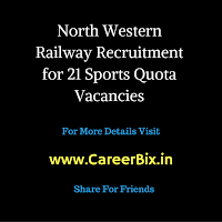 North Western Railway Recruitment for 21 Sports Quota Vacancies