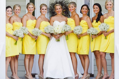 Strapless Folds Yellow Bridesmaid Dresses With Pink Silk Flower Embellishment She Is So Sweet And Cute The Boy Can No Resistance Such