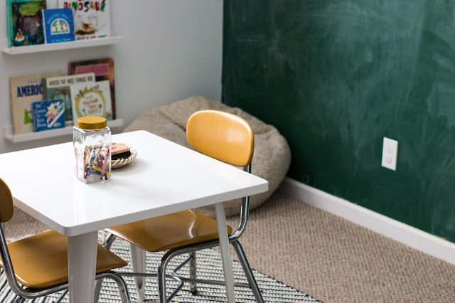 Vintage school chairs and a green chalkboard wall in a kids playroom