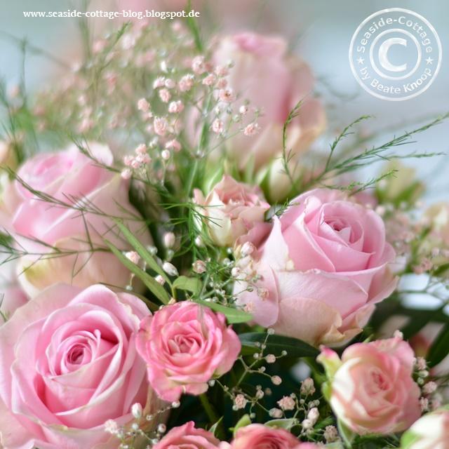 Tischgesteck rosa Rosen Floristik Konfirmation Taufe Mädchen
