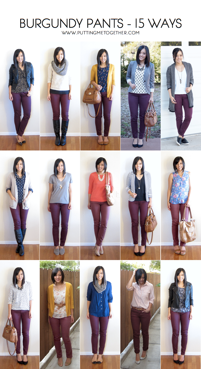 15 Ways to Wear Burgundy or Maroon Pants - Putting Me Together