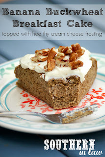 Banana Buckwheat Breakfast Cake with Healthy Cream Cheese Frosting - Vegan, Low Fat