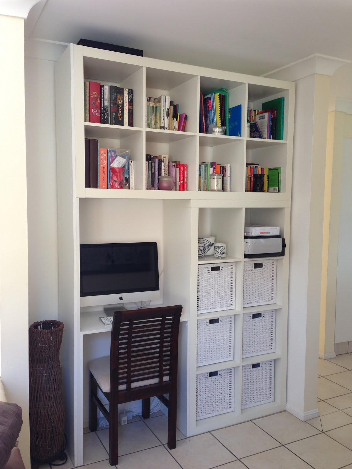 Custom designed wall unitcomputer deskbook shelf