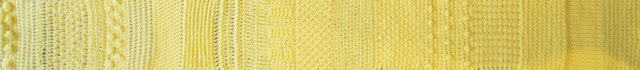 A section of a yellow sampler strip of 20 different tricot stitches arranged horizontally.