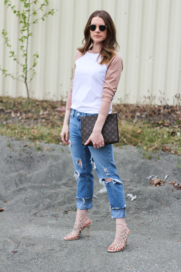 Cute spring outfits- baseball tee and heels