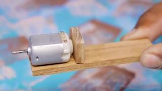 membuat sendiri bor dari dinamo mainan dan baterai kotak 9v