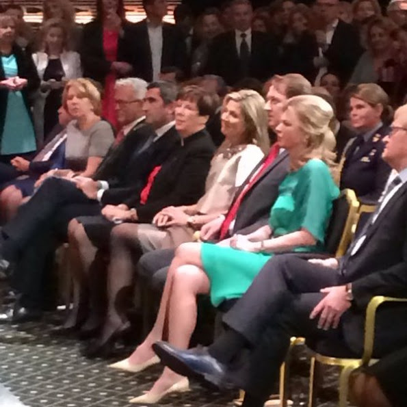 Queen Maxima of the Netherlands businesswoman Vivienne Eijkelenborg and Dutch politician Annemarie Jorritsma attend the 35th edition of the Prix Veuve Clicquot Businesswoman of the Year ceremony at the Grand Hotel Huis ter Duin