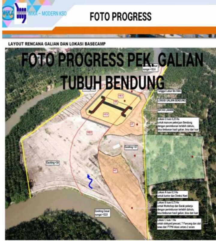 Rencana pengerjaan bendungan dan irigasi.
