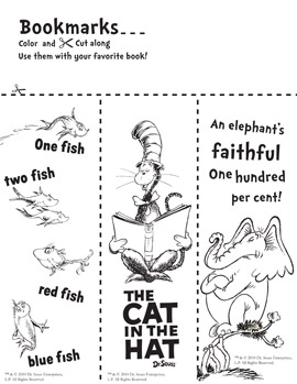 Library Learners: Dr. Seuss Bookmarks to Color