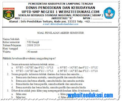 Soal PAS IPS Kelas 7 SMP/MTs Tahun 2018/2019 dan Kunci Jawaban