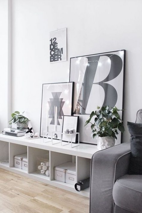 Ikea hack for Kallax shelving as chic console table - found on Hello Lovely Studio