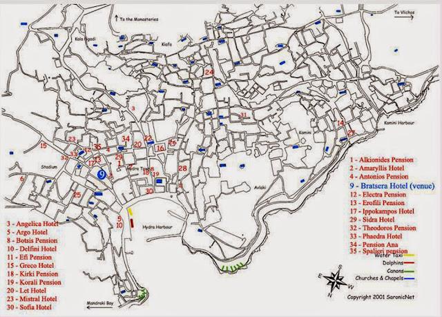 Hydra hotels map