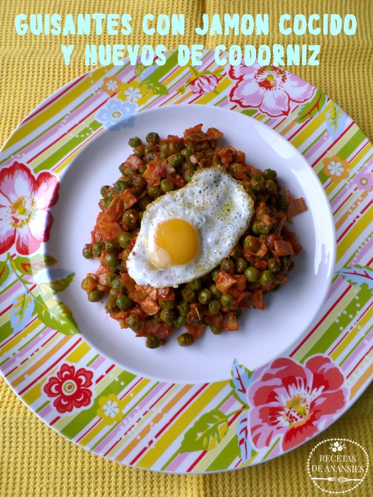 Guisantes salteados con jamón cocido y huevos de codorniz