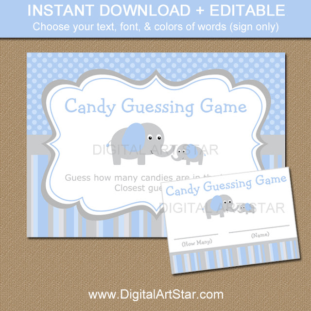 boy baby candy guessing game with elephants