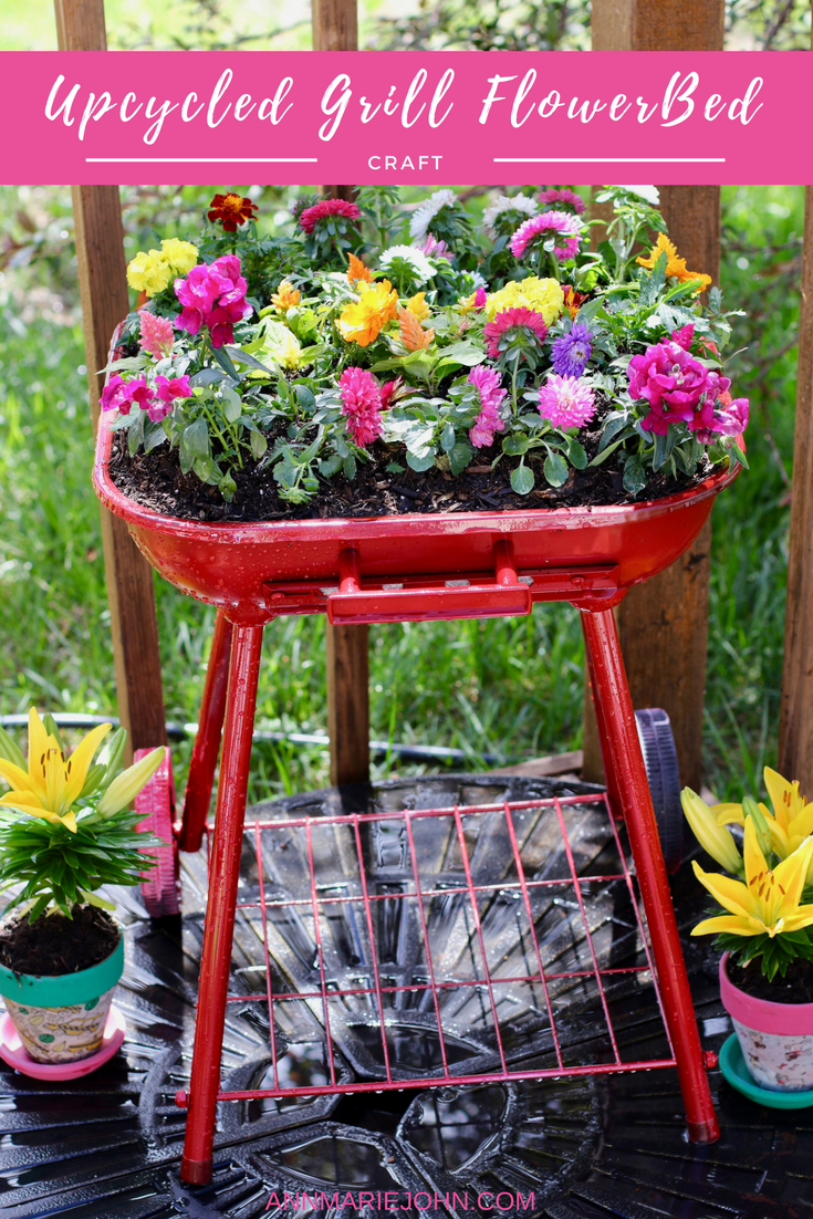 upcycled grill flowerbed
