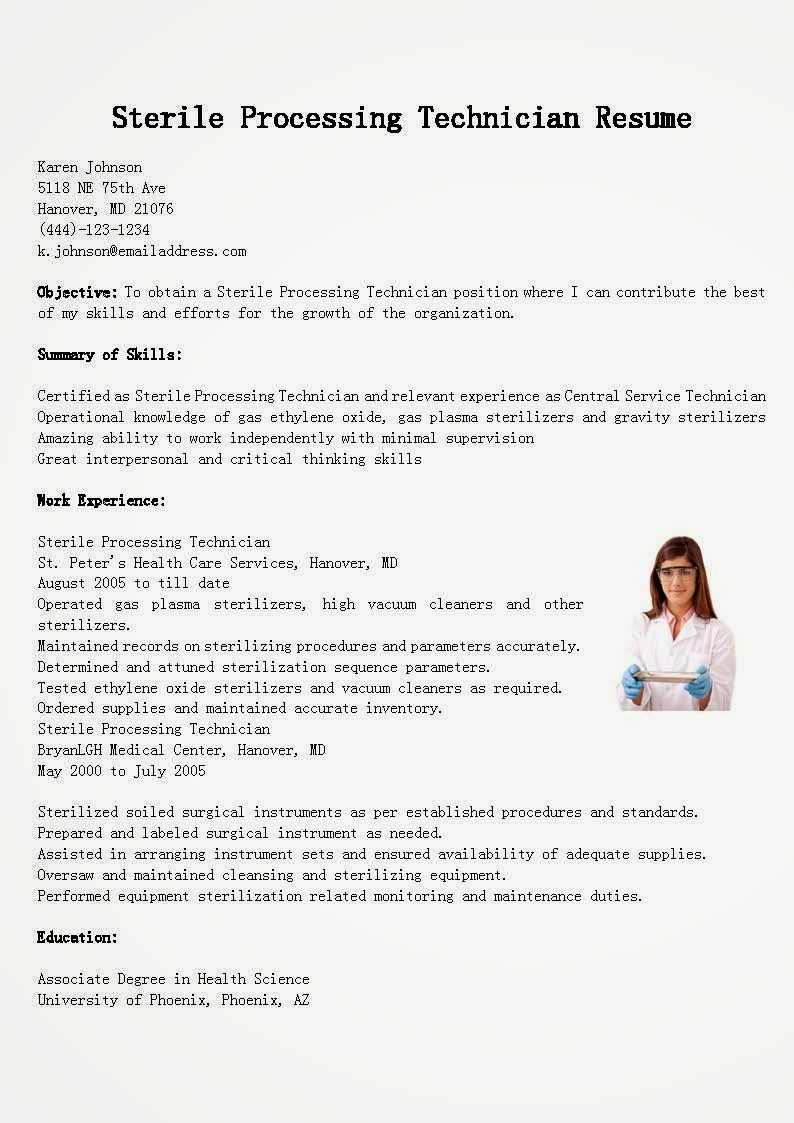 resume examples sterile processing technician