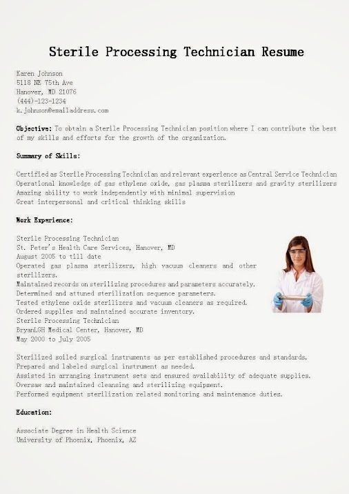 sterile processing technician resume sample use this free sample sterile proc sterile processing technician resume example