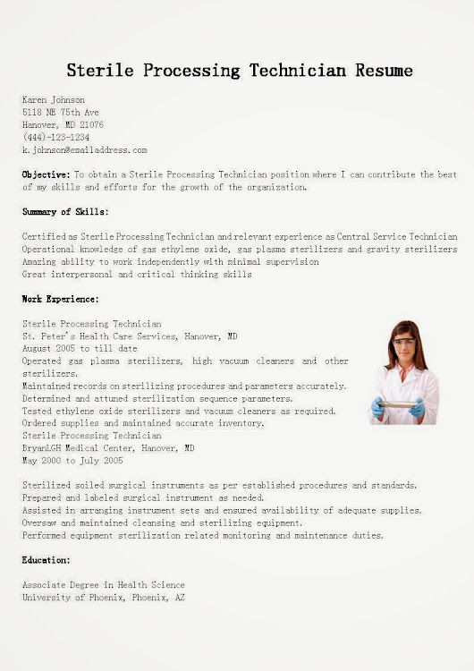 Sterile Processing Technician Resume Sample Use this FREE Sample