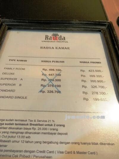 tarif hotel rauda