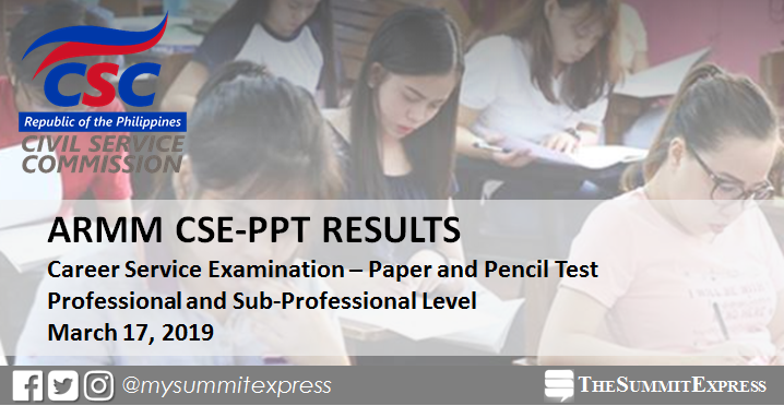 ARMM Passers List: March 2019 Civil Service Exam CSE-PPT results