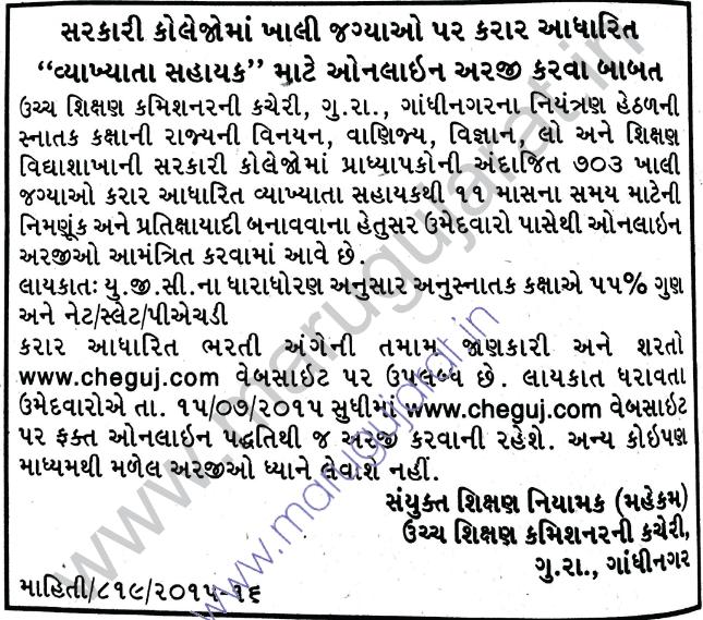 CHEGUJ 703 Vyakhyata Sahayak Recruitment in Govt. Colleges