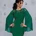 Rochie de ocazii marime mare verde cu manecile evazate si broderie florala cu strasuri