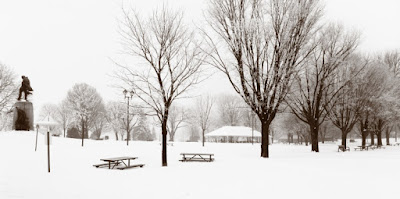 A view of Couchiching Beach Park in the winter, showing picnic tables enclosed by snow, and the Champlain monument.