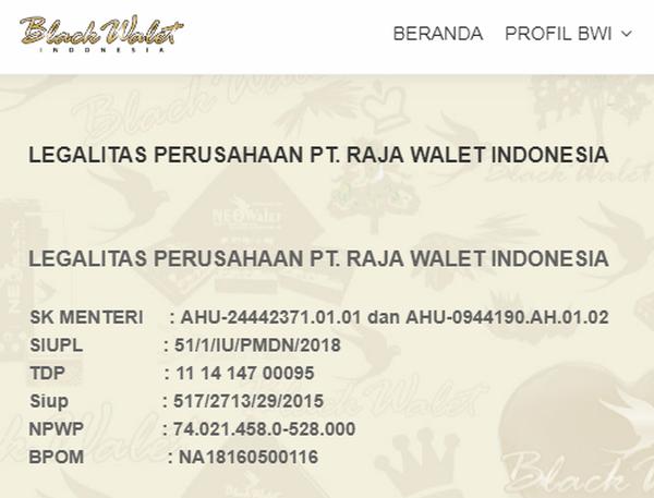 Gambar Legalitas Perusahaan PT Raja Walet Indonesia