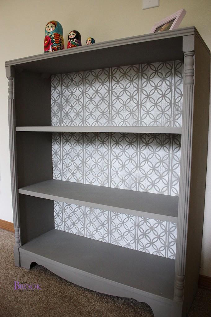 Stenciled Bookcase Annie Sloan French LinenPure White