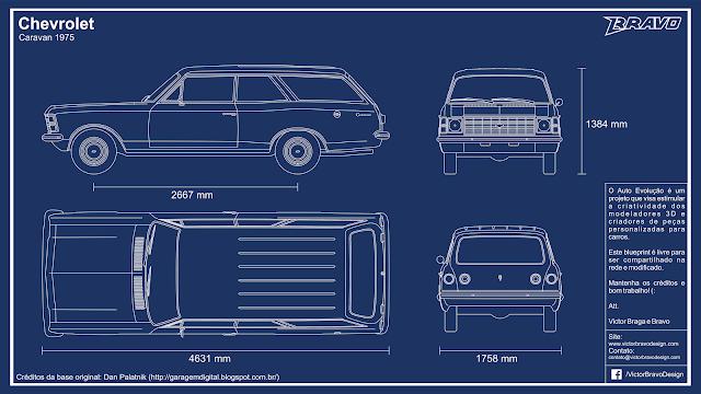 Imagem mostrando o desenho do blueprint Chevrolet Caravan 1975