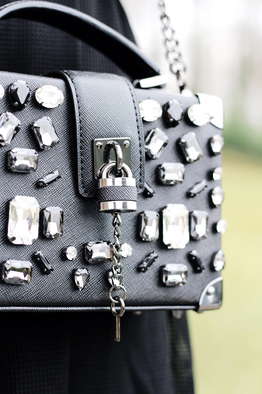 Embellished black box bag by Aldo
