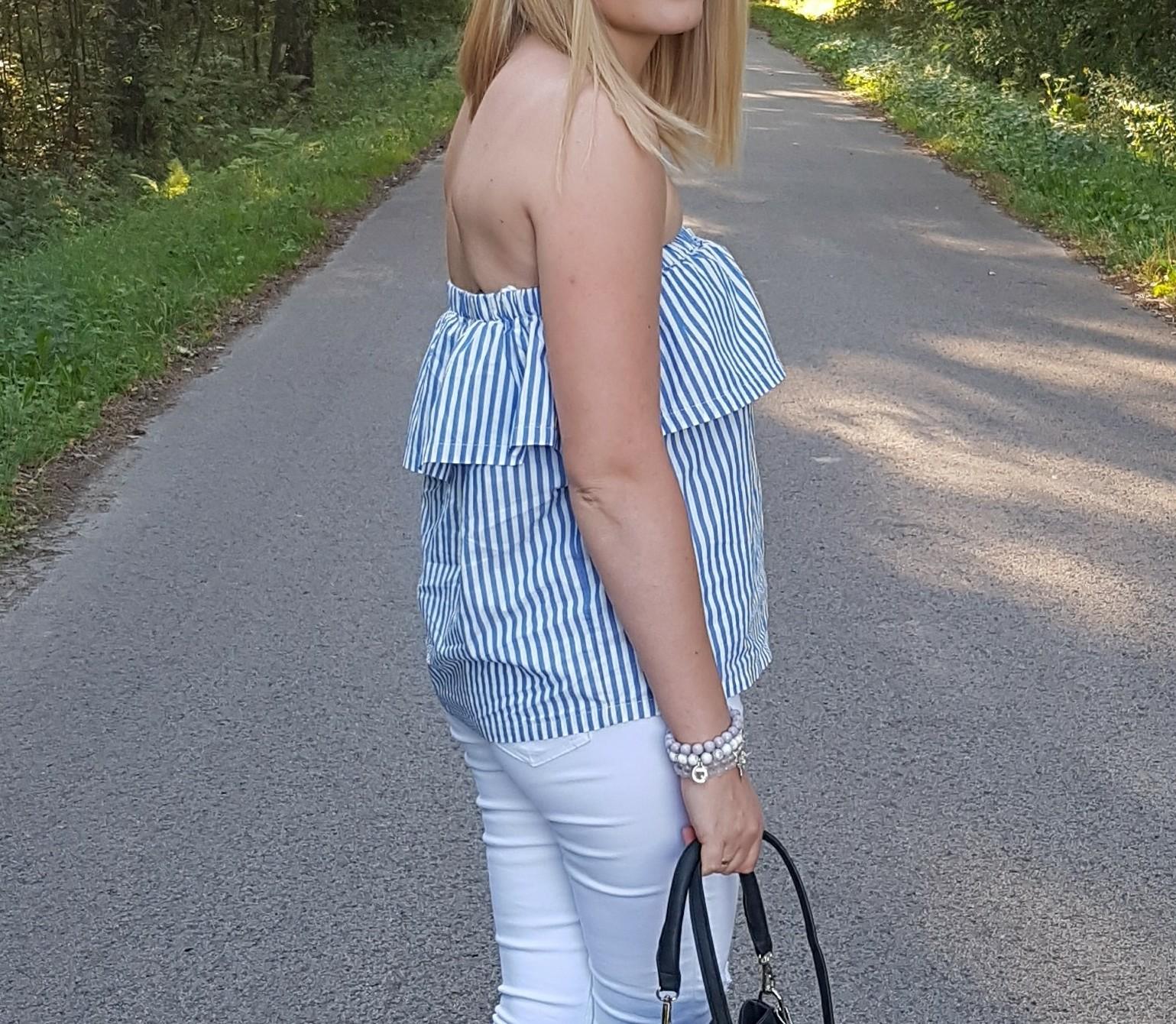 Summer off the shoulder czyli letni outfit i białe jeansy