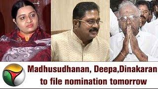 RK Nagar bypoll: Madhusudhanan, Deepa, Dinakaran to file nomination tomorrow