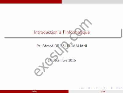 cours Informatique 1 smia s1 Introduction à l'informatique fsdm
