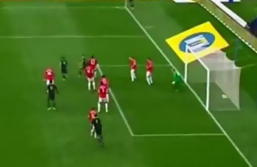 Ajax Cape Town player Alcardo van Graan scores a back-heel goal against Manchester United