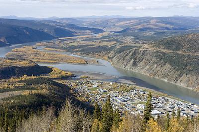 Dawson City, YK, arial view
