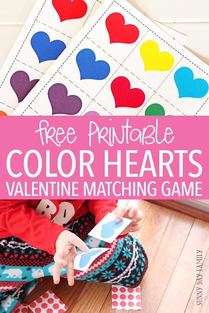 A free printable Valentine themed matching game for kids! Preschoolers will love to match the different color hearts in this easy and fun memory game. Makes a great Valentines gift for kids too!