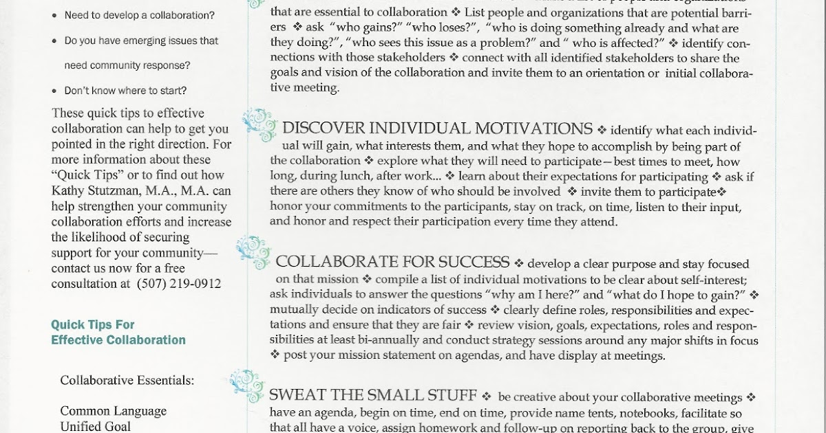 Kathy Stutzman, MA, MA  Collaboration Quick Tips