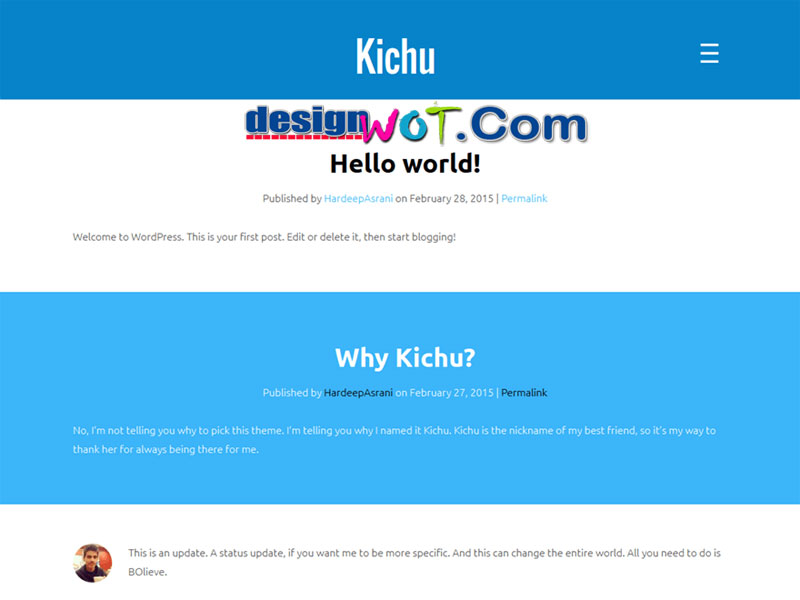 Kichu One Column WordPress Theme