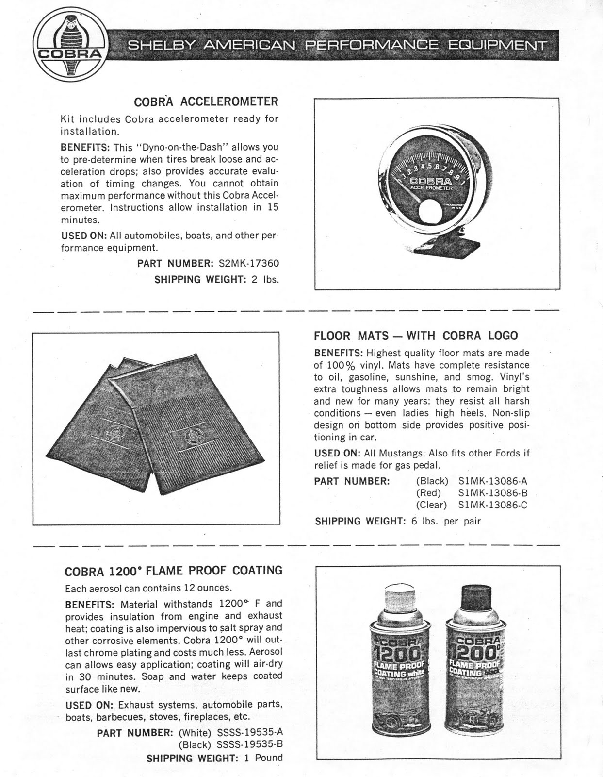Virginia Classic Mustang Blog: Shelby Cobra Floor Mats