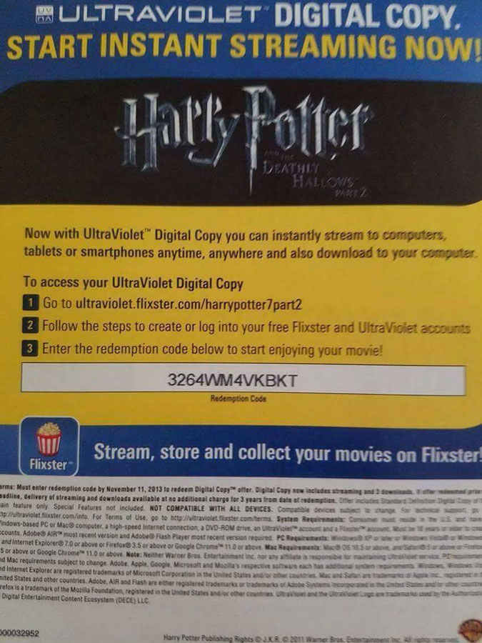 Your Free Daily Ultraviolet [UV] Codes for Movies: Movie