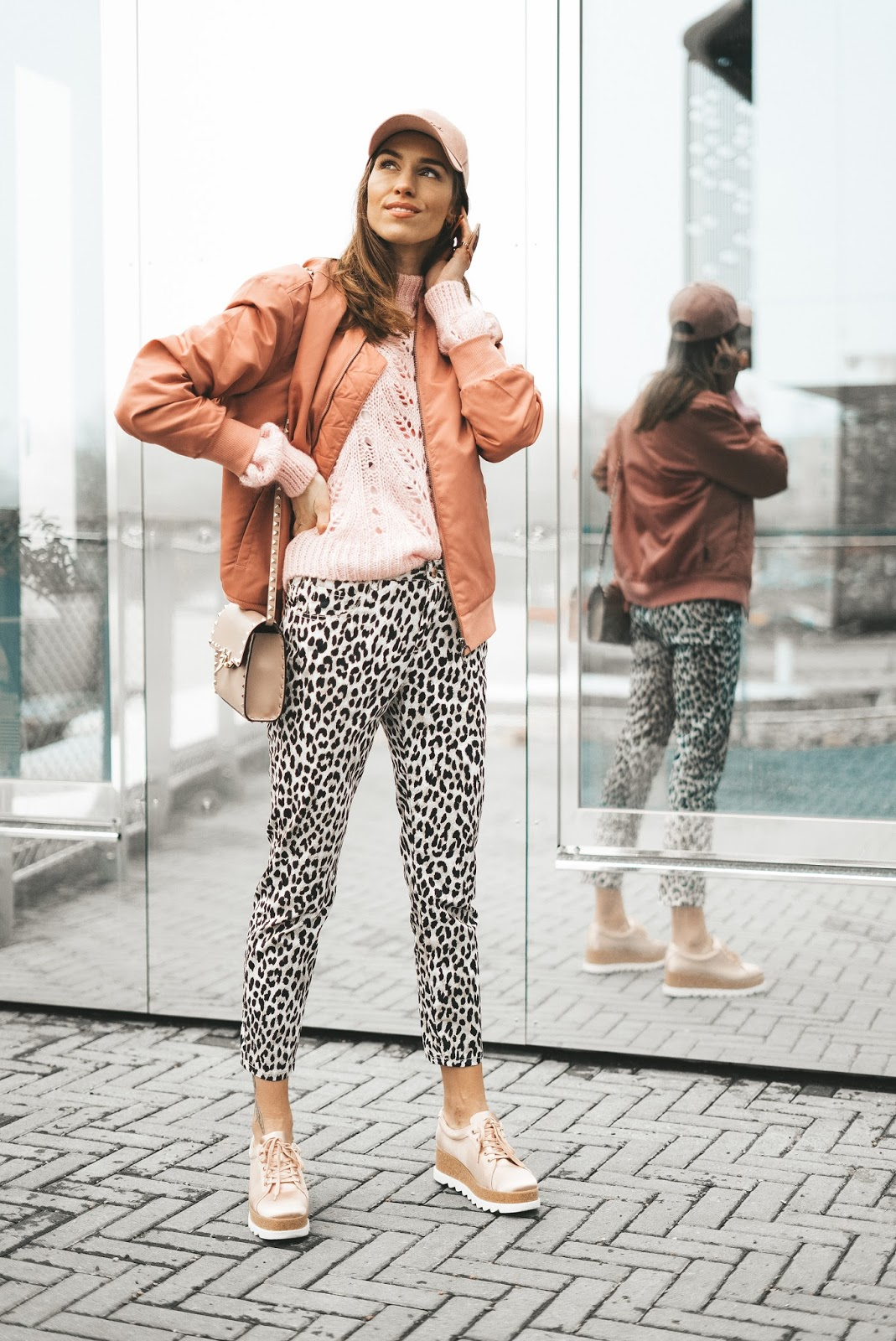 pink bomber jacket leo print pants casual outfit spring