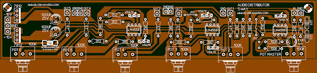 Layout PCB Audio Distributor 5 way Untuk Sound System audio