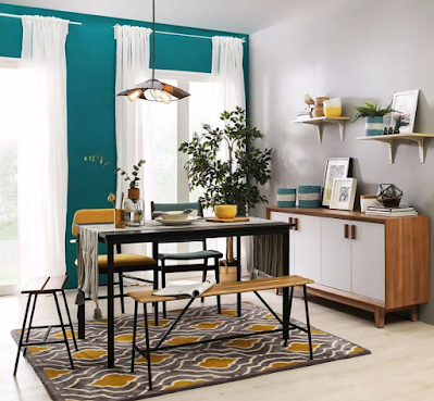 interior color scheme ideas with Tosca and yellow color